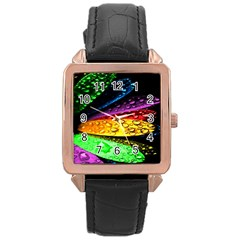 Abstract Flower Rose Gold Leather Watch
