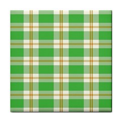 Abstract Green Plaid Tile Coasters