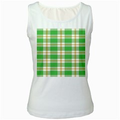 Abstract Green Plaid Women s White Tank Top