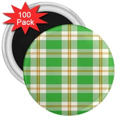 Abstract Green Plaid 3  Magnets (100 Pack)