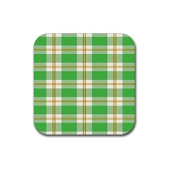 Abstract Green Plaid Rubber Coaster (square)
