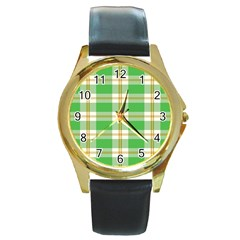 Abstract Green Plaid Round Gold Metal Watch