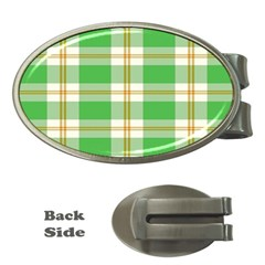 Abstract Green Plaid Money Clips (oval)