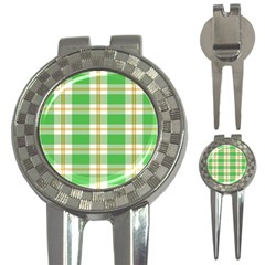 Abstract Green Plaid 3 In 1 Golf Divots
