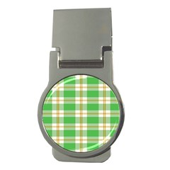 Abstract Green Plaid Money Clips (Round)