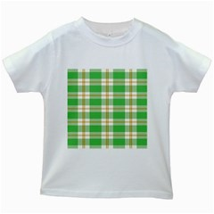 Abstract Green Plaid Kids White T Shirts