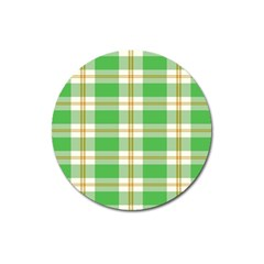 Abstract Green Plaid Magnet 3  (Round)