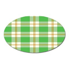 Abstract Green Plaid Oval Magnet