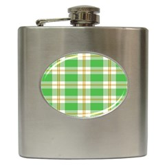 Abstract Green Plaid Hip Flask (6 oz)