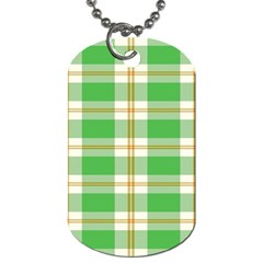 Abstract Green Plaid Dog Tag (two Sides)
