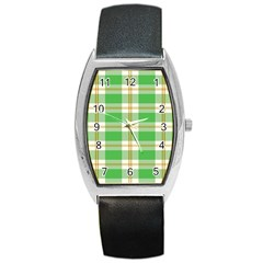Abstract Green Plaid Barrel Style Metal Watch