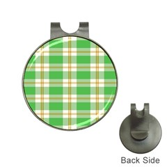 Abstract Green Plaid Hat Clips with Golf Markers