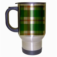 Abstract Green Plaid Travel Mug (Silver Gray)