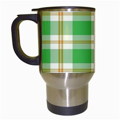 Abstract Green Plaid Travel Mugs (White)