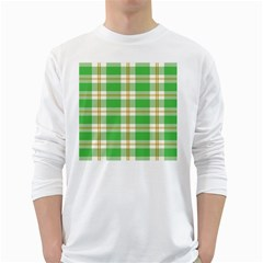 Abstract Green Plaid White Long Sleeve T Shirts