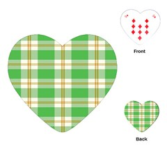 Abstract Green Plaid Playing Cards (Heart)