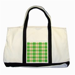 Abstract Green Plaid Two Tone Tote Bag