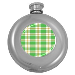 Abstract Green Plaid Round Hip Flask (5 oz)