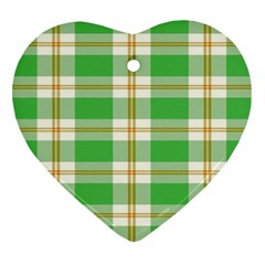 Abstract Green Plaid Heart Ornament (Two Sides)