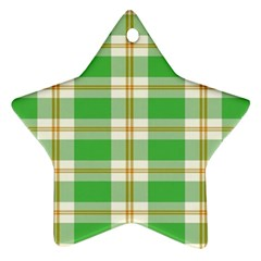 Abstract Green Plaid Star Ornament (two Sides)