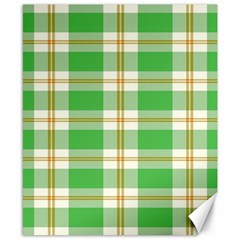 Abstract Green Plaid Canvas 8  x 10