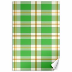Abstract Green Plaid Canvas 12  X 18