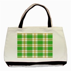 Abstract Green Plaid Basic Tote Bag (two Sides)