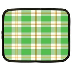Abstract Green Plaid Netbook Case (large)