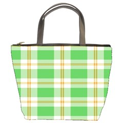 Abstract Green Plaid Bucket Bags