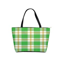 Abstract Green Plaid Shoulder Handbags