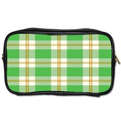 Abstract Green Plaid Toiletries Bags 2 Side