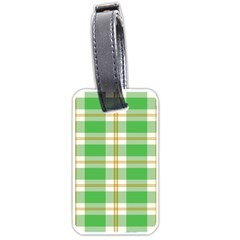 Abstract Green Plaid Luggage Tags (one Side)