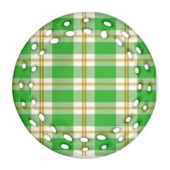 Abstract Green Plaid Round Filigree Ornament (two Sides)