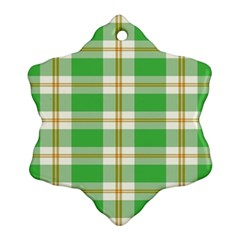 Abstract Green Plaid Snowflake Ornament (two Sides)