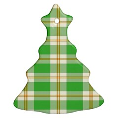 Abstract Green Plaid Christmas Tree Ornament (two Sides)