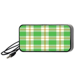 Abstract Green Plaid Portable Speaker (black)