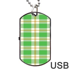 Abstract Green Plaid Dog Tag Usb Flash (two Sides)