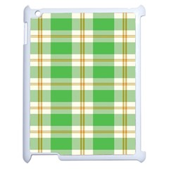 Abstract Green Plaid Apple iPad 2 Case (White)