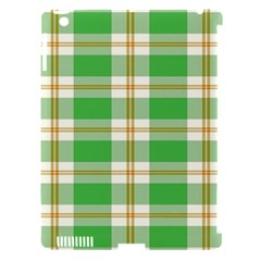 Abstract Green Plaid Apple iPad 3/4 Hardshell Case (Compatible with Smart Cover)