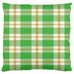 Abstract Green Plaid Large Cushion Case (One Side)