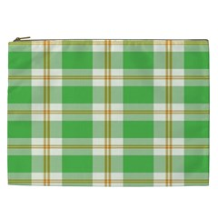 Abstract Green Plaid Cosmetic Bag (xxl)