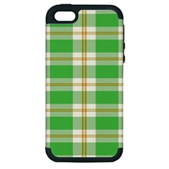 Abstract Green Plaid Apple Iphone 5 Hardshell Case (pc+silicone)
