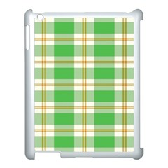 Abstract Green Plaid Apple iPad 3/4 Case (White)