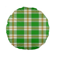 Abstract Green Plaid Standard 15  Premium Round Cushions