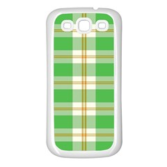 Abstract Green Plaid Samsung Galaxy S3 Back Case (white)