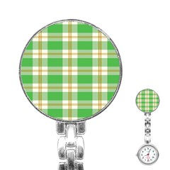 Abstract Green Plaid Stainless Steel Nurses Watch