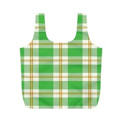Abstract Green Plaid Full Print Recycle Bags (M)