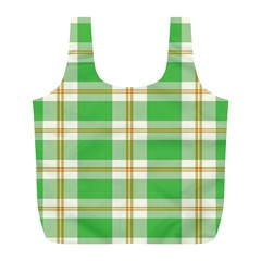 Abstract Green Plaid Full Print Recycle Bags (L)