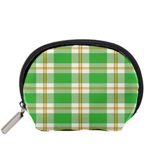 Abstract Green Plaid Accessory Pouches (small)