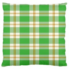 Abstract Green Plaid Large Flano Cushion Case (two Sides)